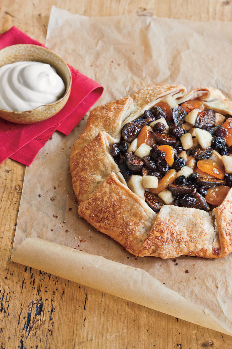 Tipsy Spiced Fruit Tart with Buttermilk Whipped Cream
