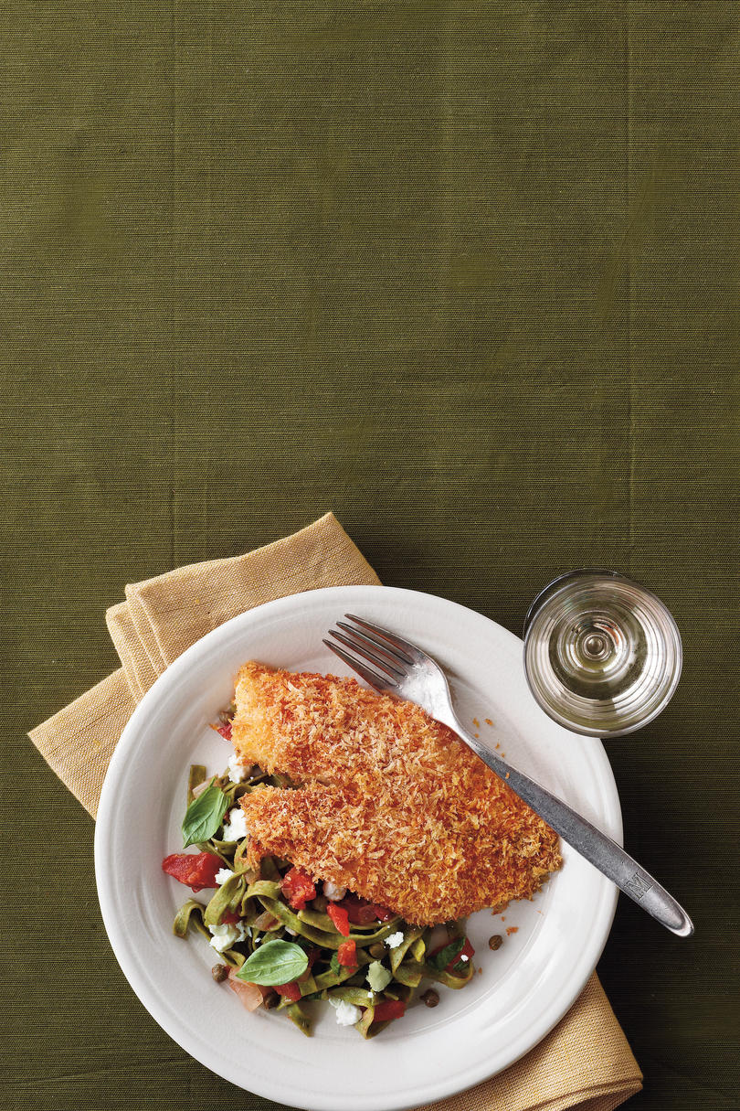 Crispy Oven-Baked Tilapia Recipe with Lemon-Tomato Fettucine