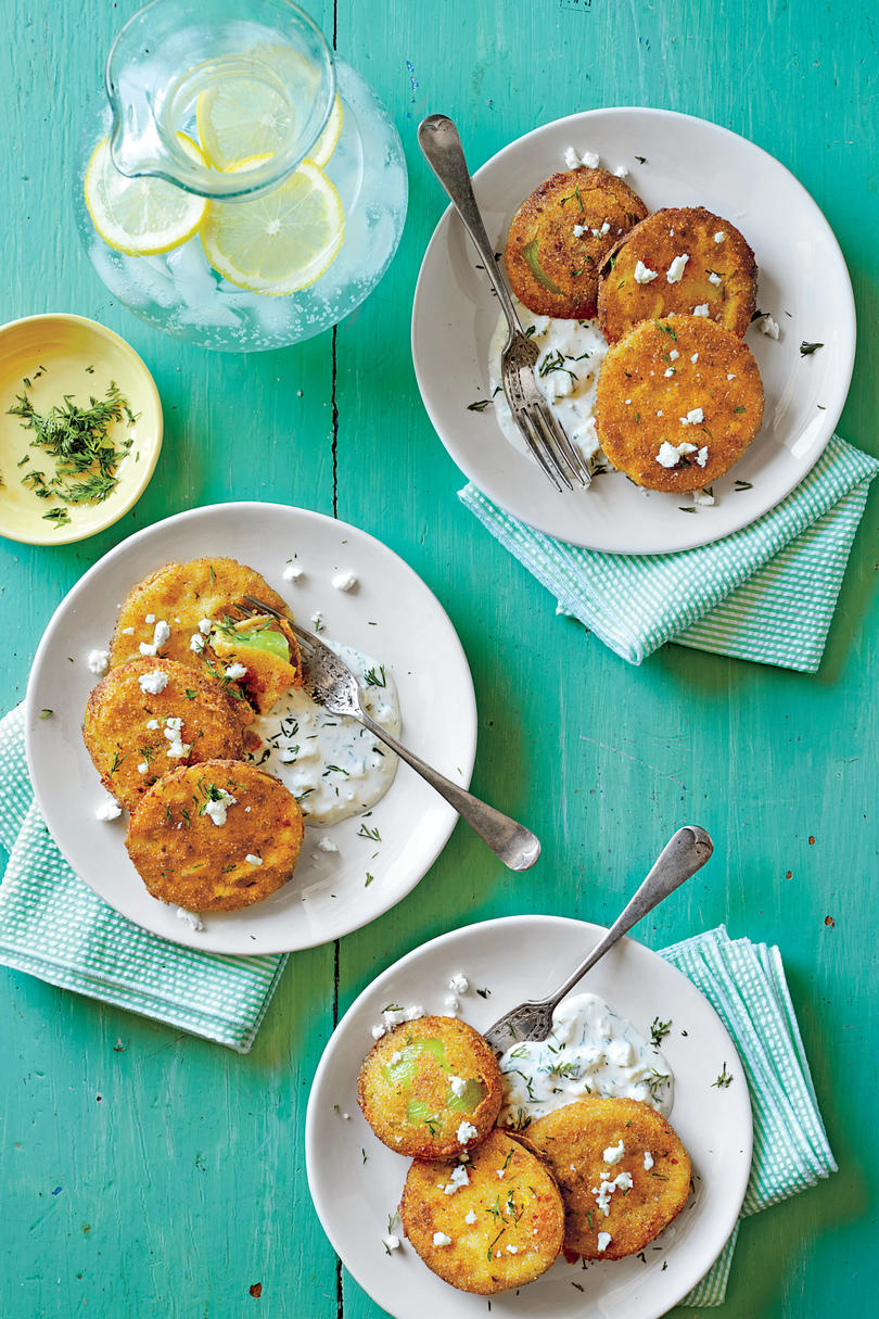Fried Green Tomatoes with Buttermilk-Feta Dressing