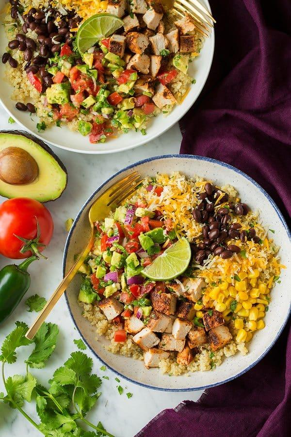 Grilled Chicken and Quinoa Burrito Bowls with Avocado Salsa