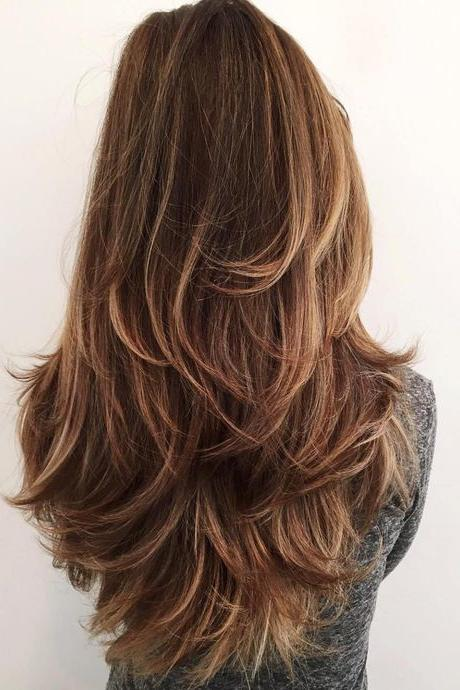 Chocolate Brown Hair with Highlighted Layers