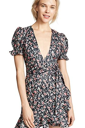 Floral Wrap Dress With Pouf Sleeves