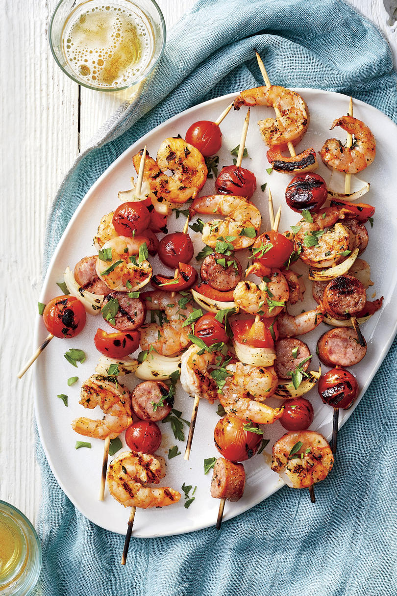 Grilled Cajun Shrimp Kabobs with Sausage