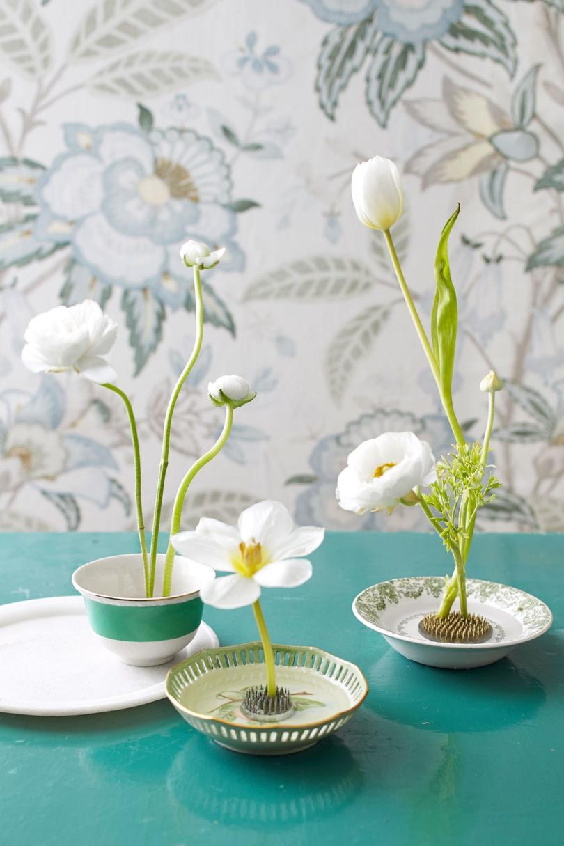 White Flower Display Using China and Floral Frogs