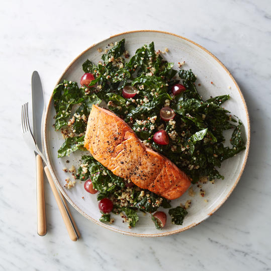 Roasted Salmon with Kale-Quinoa Salad