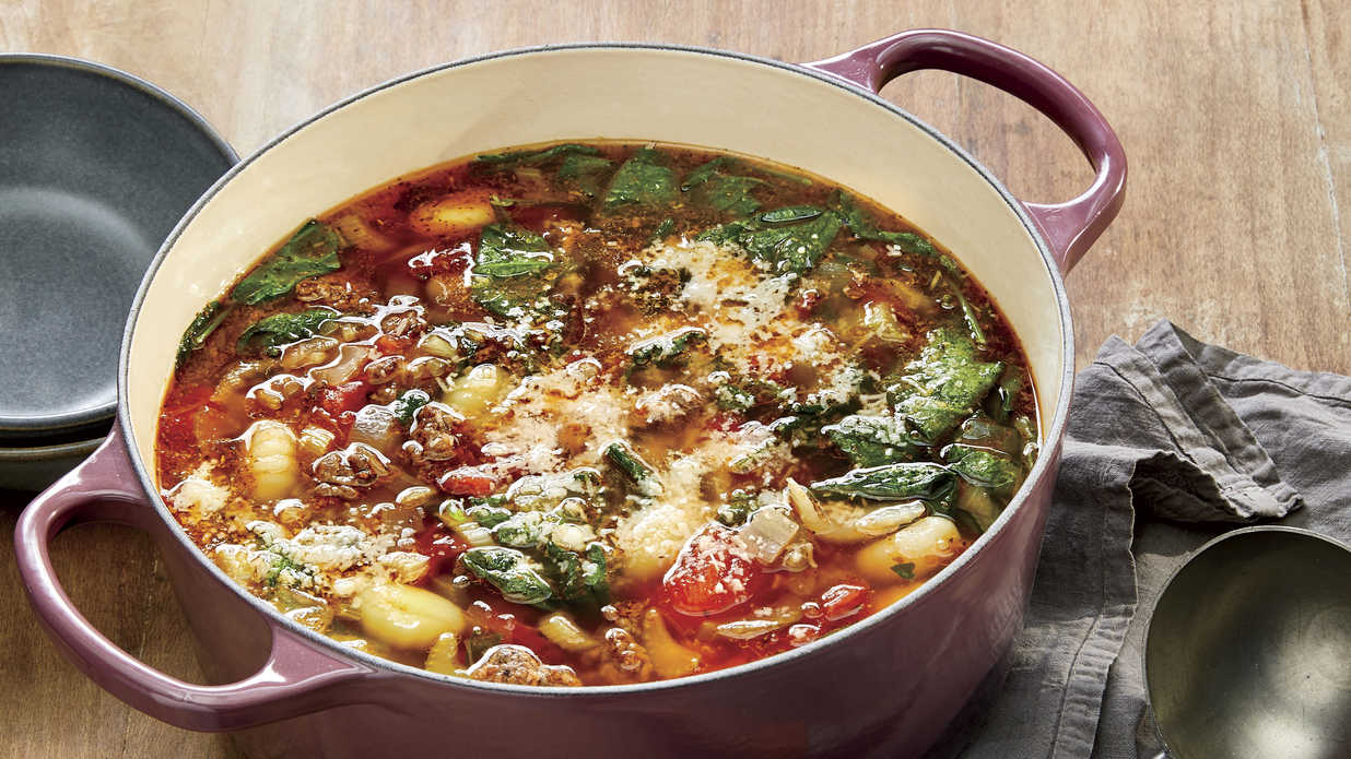 Ground Beef Vegetable Soup with Gnocchi