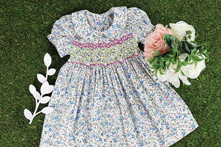 Cream Floral Smocked Dress