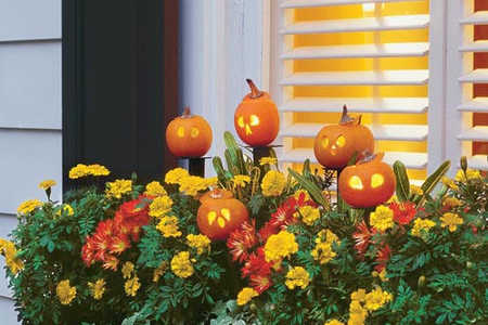 Add Tiny Carved Pumpkins to Front Door Pots