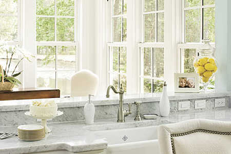 Elegant Kitchen Sink, View of Sunroom