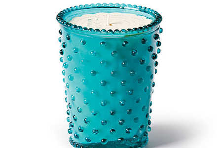 Hobnail Glass Candle in Marine