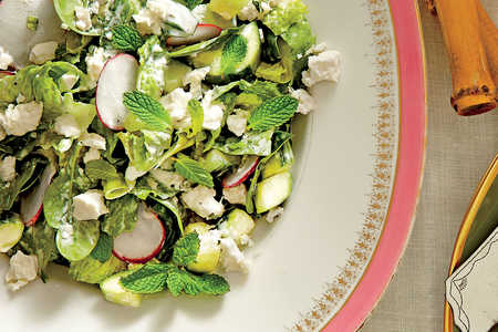Spinach-and-Romaine Salad with Cucumbers, Radishes, and Creamy Mint Dressing