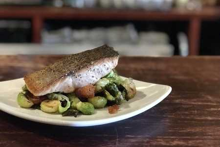 Salmon and Brussels Sprouts from South of Beale Restaurant