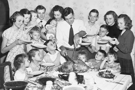 Large Family at Thanksgiving Table