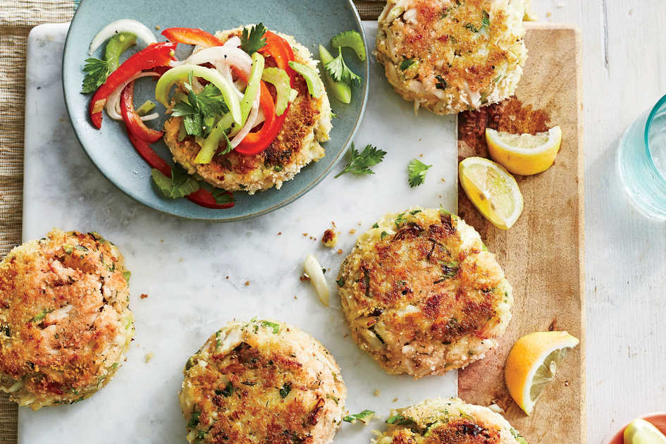 Best-Ever Crab Cakes with Green Tomato Slaw