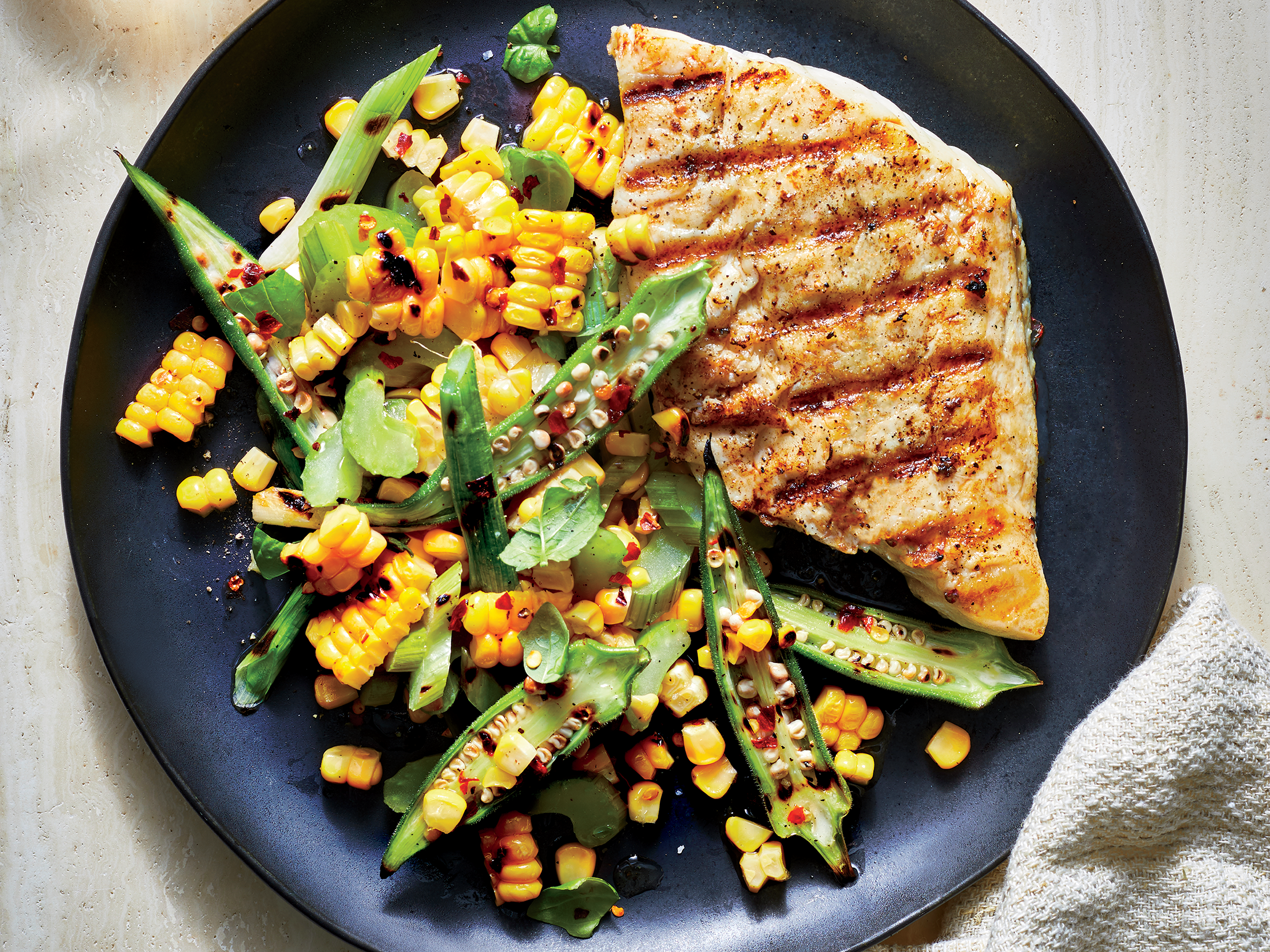 Snapper with Corn-Okra Relish