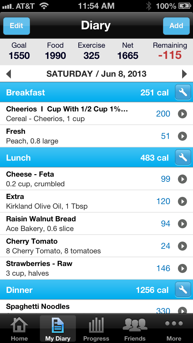 Another MyFitnessPal screenshot displaying my daily diet diary.