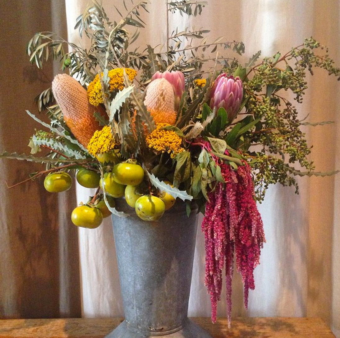 Fruits, foliage, and seed heads of edible plants create interesting, beautiful additions to any arrangement. Pick fresh from your garden.