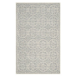 Wayfair geometric area rug in silver and ivory. photo
