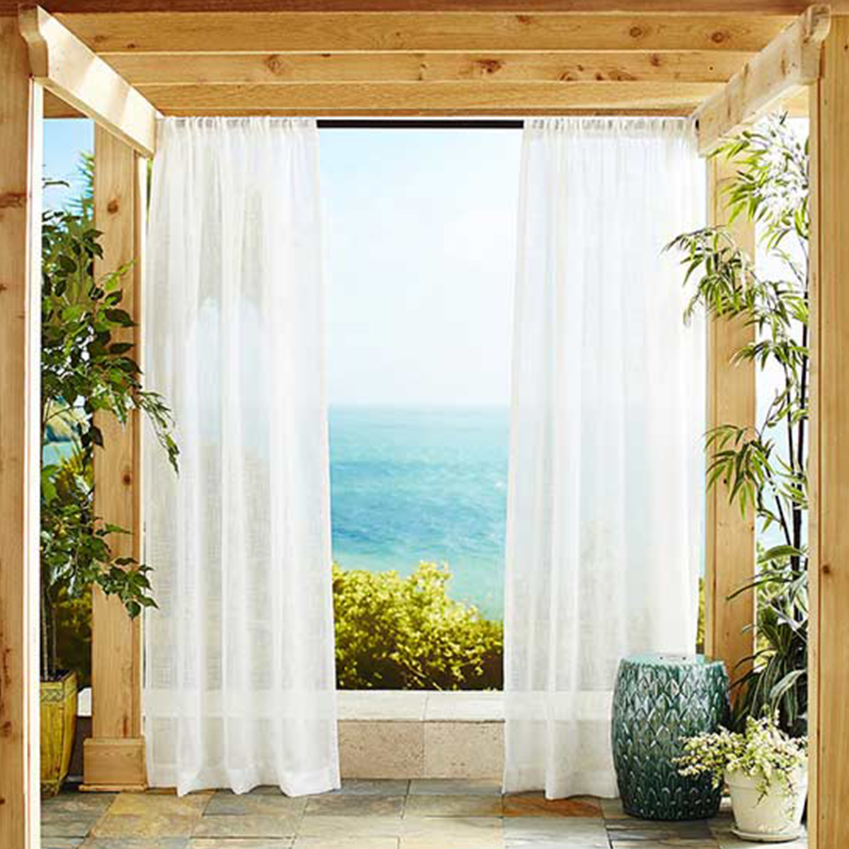 Pier 1 Imports white sheer curtains photo