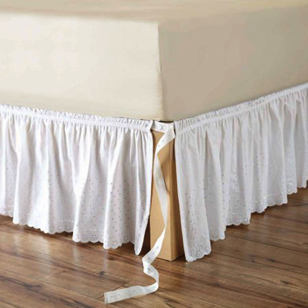 Better Homes and Gardens white eyelet adjustable bed skirt from Walmart photo