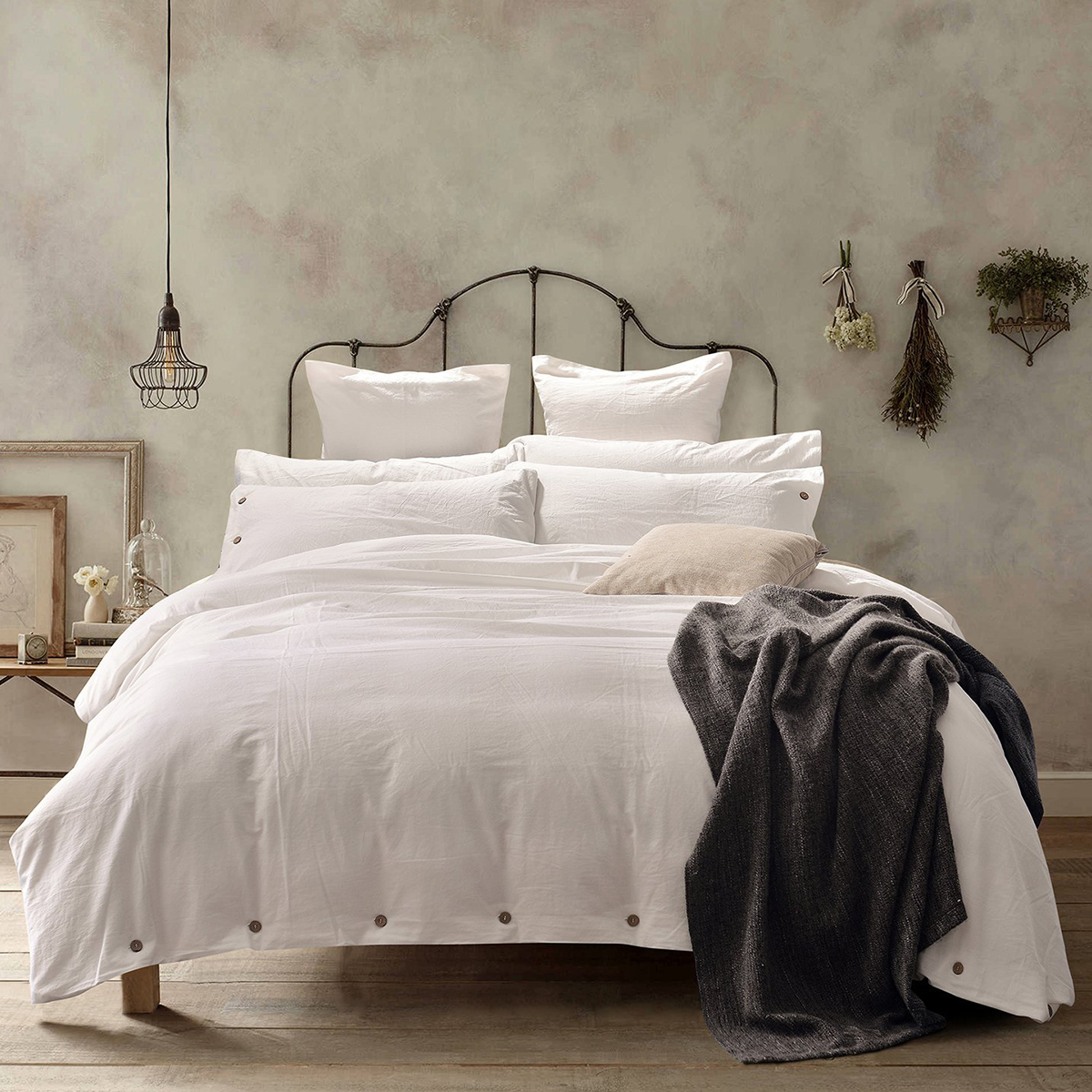 Amazon white duvet set with buttons photo