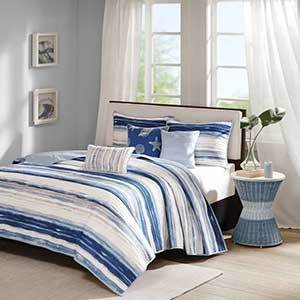 Madison Park blue and white striped bedding set from Amazon photo