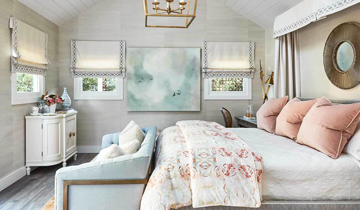 Bedroom with soft color scheme