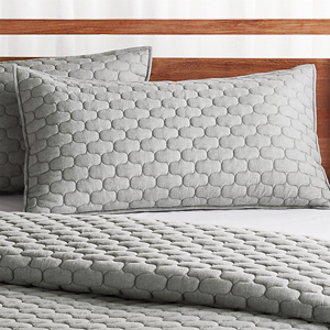 Gray textured cotton sham from Crate and Barrel photo