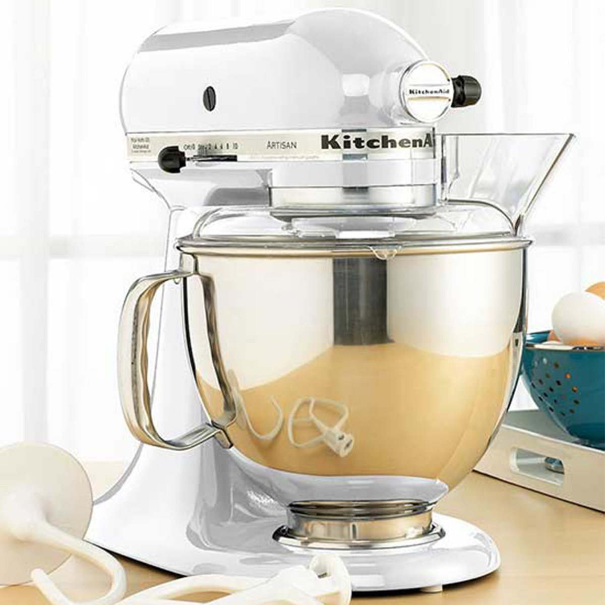 KitchenAid Stand Mixer in white with stainless-steel bowl photo