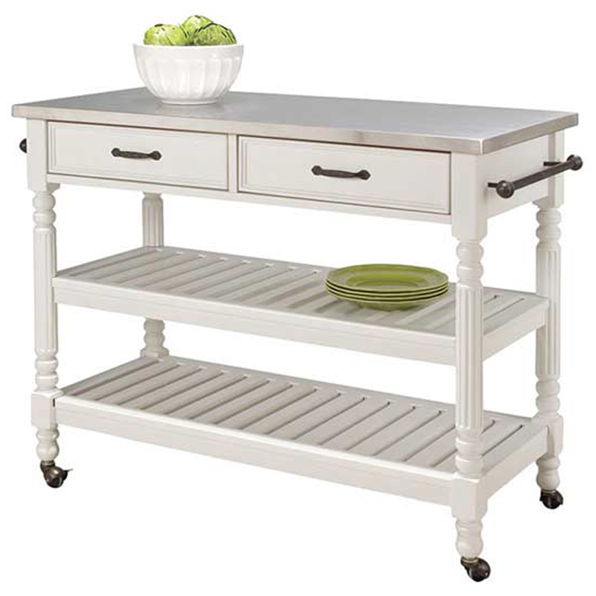 Rolling kitchen cart in white with two shelves and two drawers photo