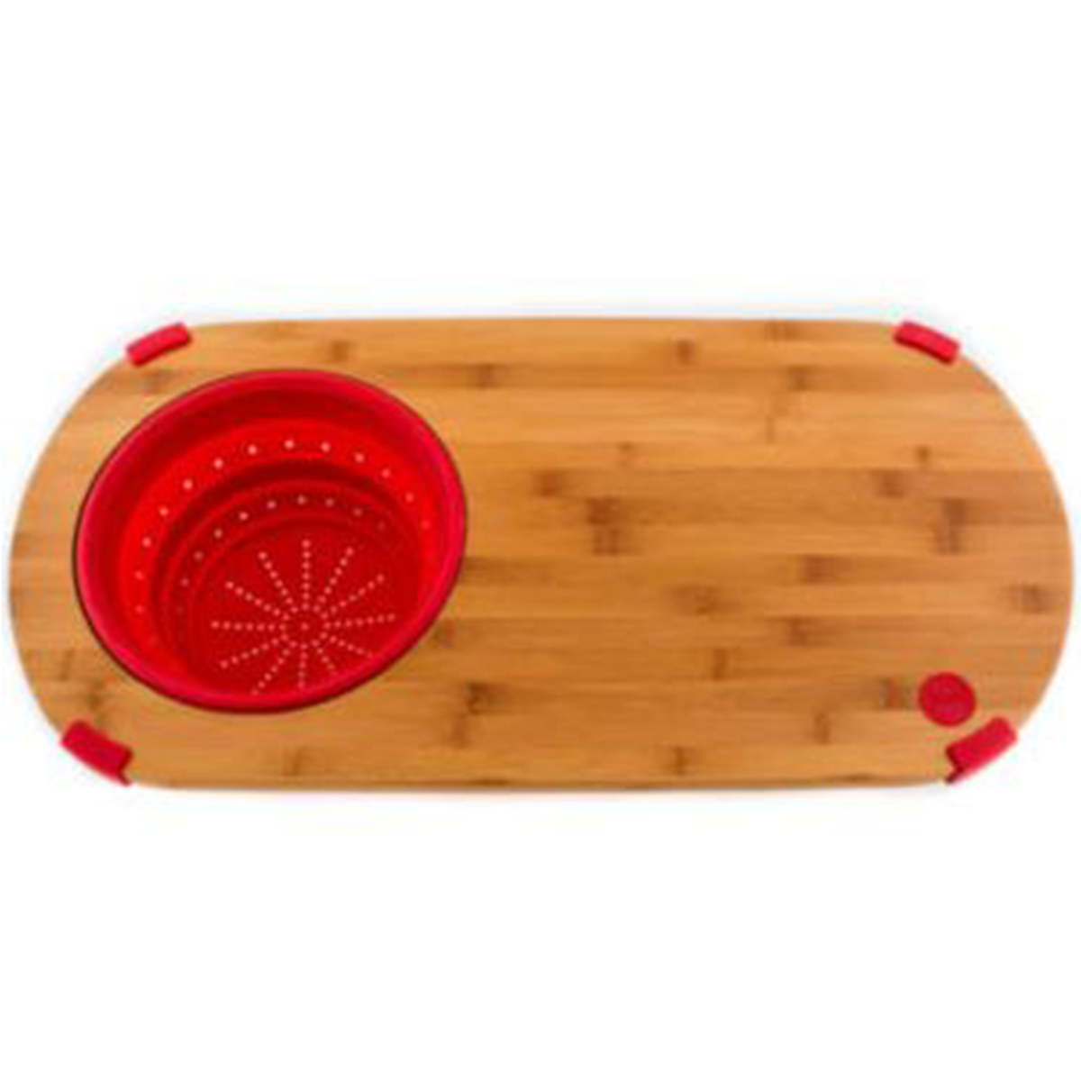 Cutting board designed with a built in strainer photo