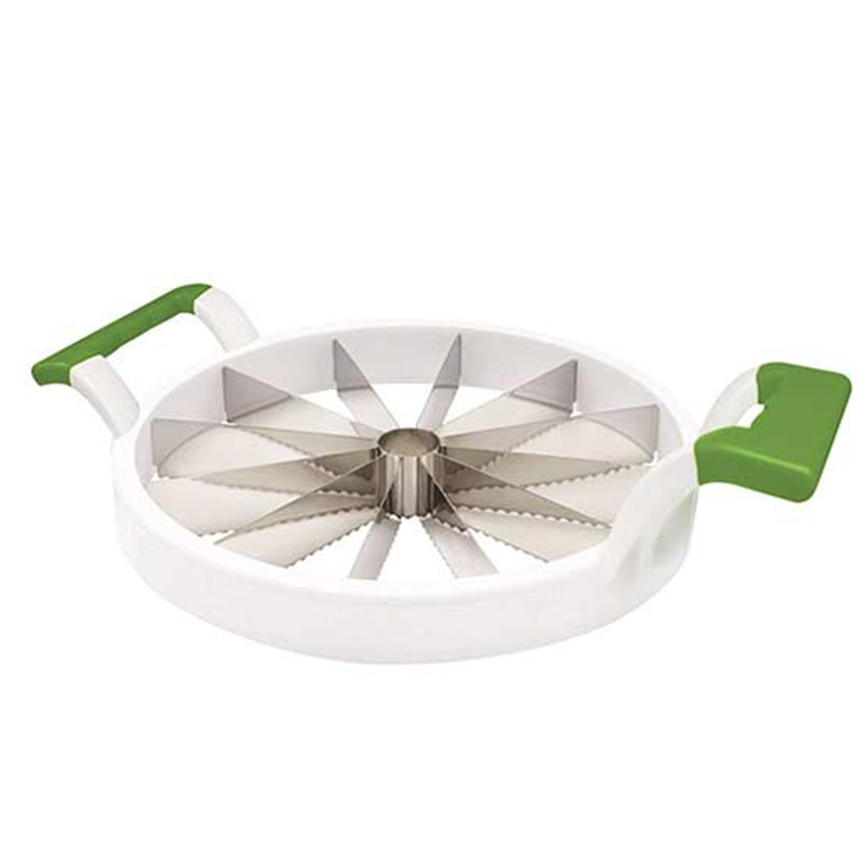 White watermelon slicer with green handles photo