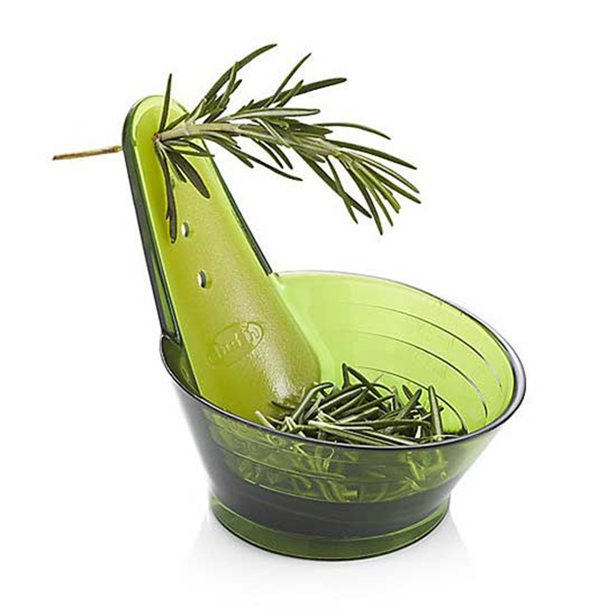 Kitchen gadget that strips herb leaves from the stem photo