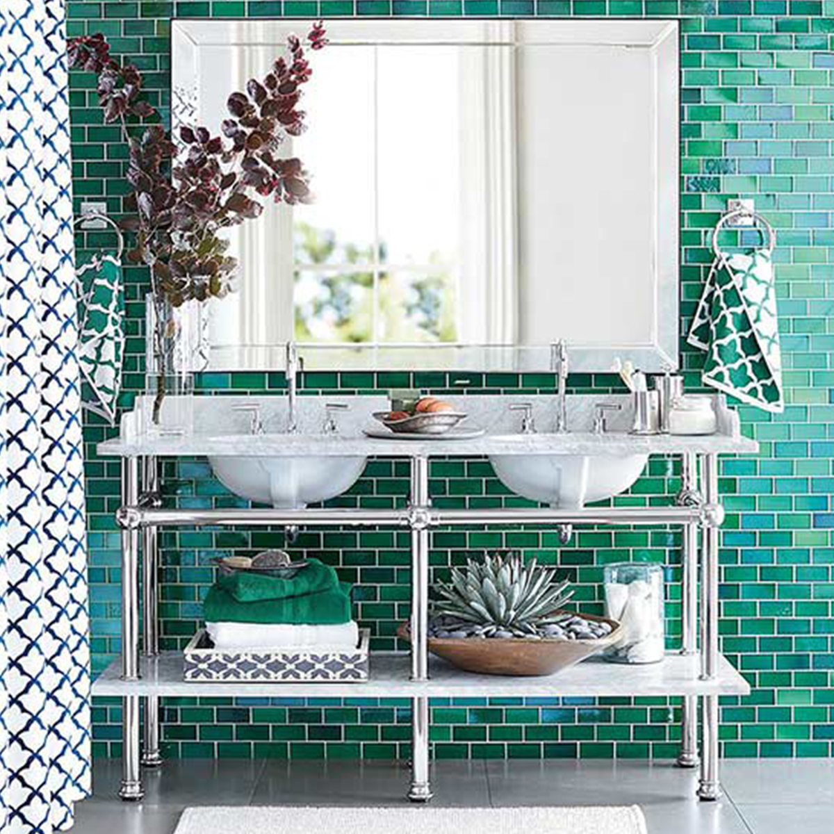 Double vanity with open shelving and exposed pipes photo