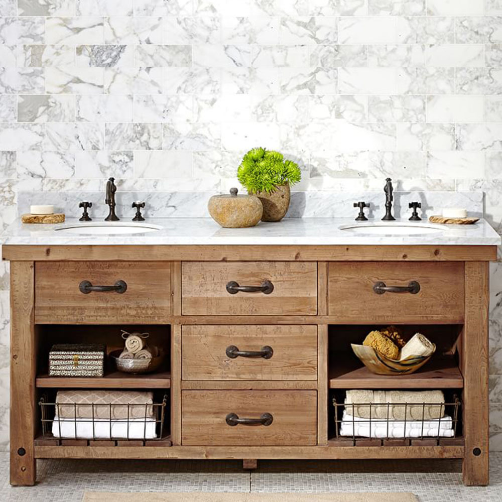 Reclaimed wood double vanity with Carrara marble top photo