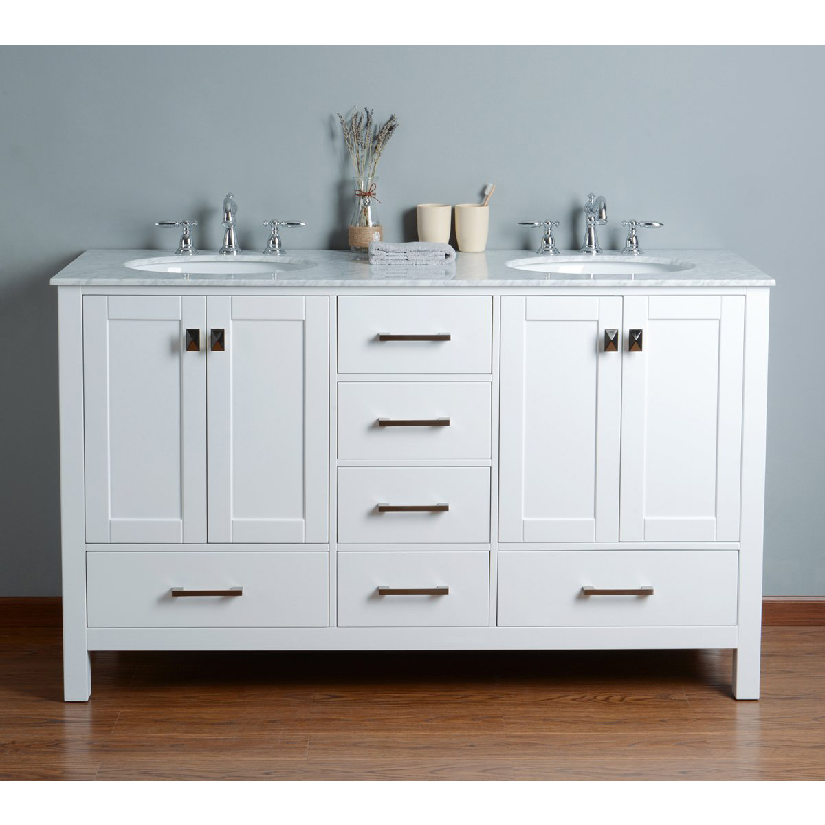 White double vanity with cabinet photo