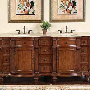 Natural stone top double vanity with full bath cabinet in rosewood finish photo