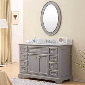 The detailed vanity has ample storage space and an elegant cream marble, stone finish top. photo