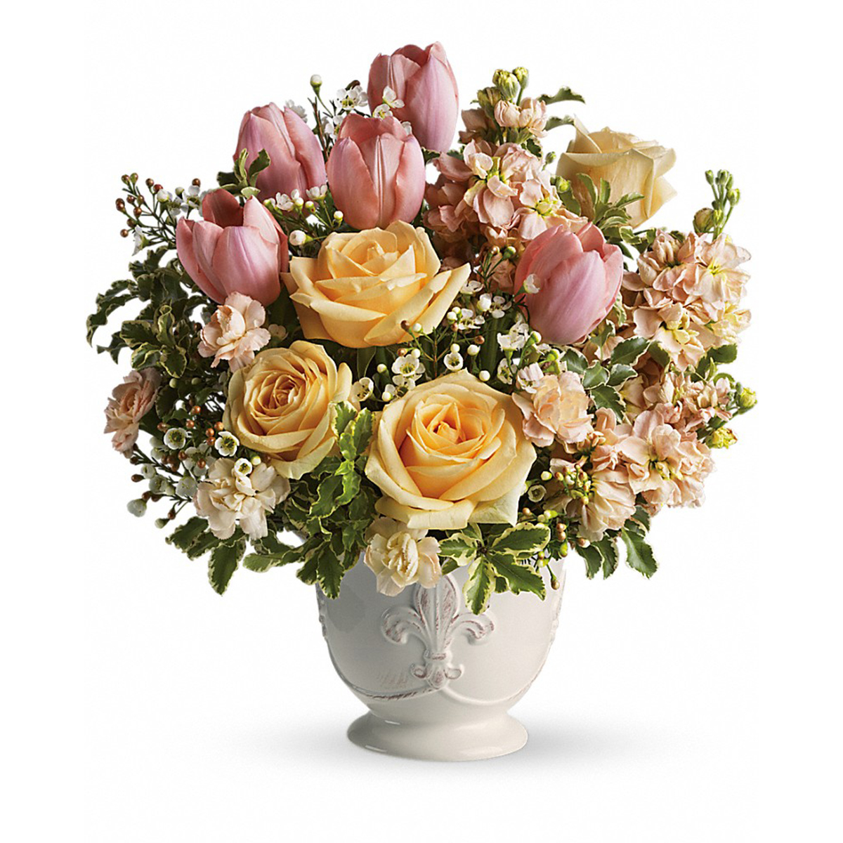 Bouquet of roses, carnations, and tulips in a white vase photo