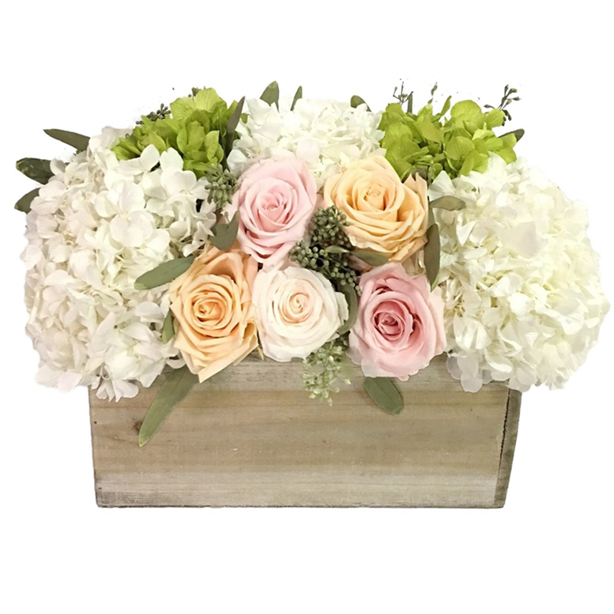 A wooden planter box filled with hydrangeas, pastel roses, and seeded eucalyptus photo