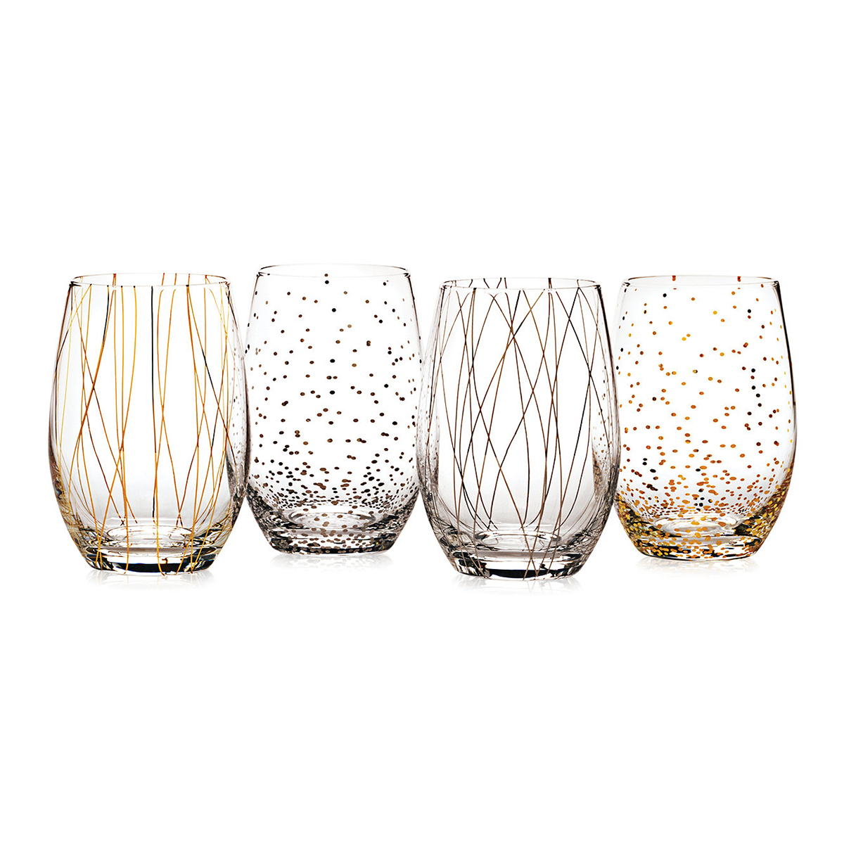 Wine glasses with colorful striped and polka-dot designs photo