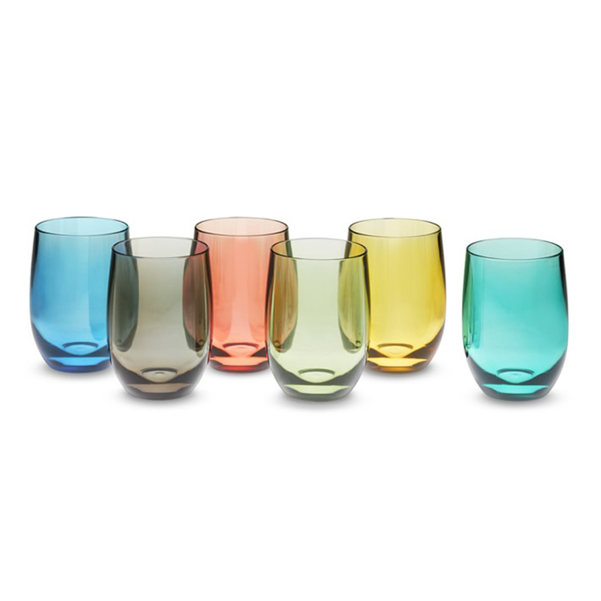Set of colorful wine glasses in blue, red, yellow, green, and black photo