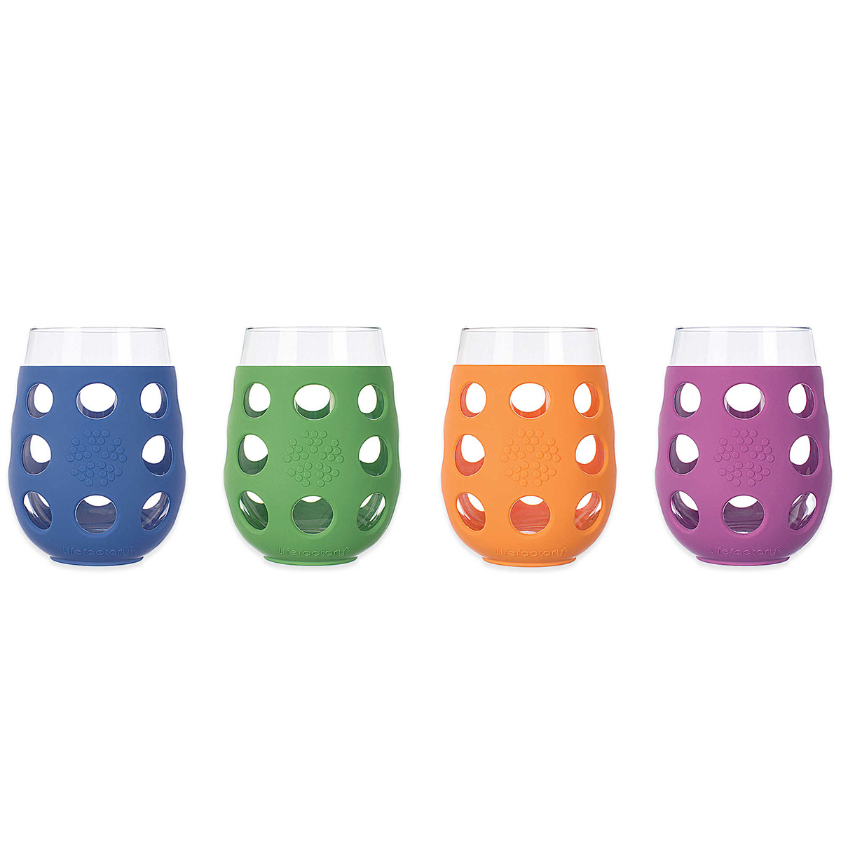 Set of wine glasses with colorful silicone sleeves photo