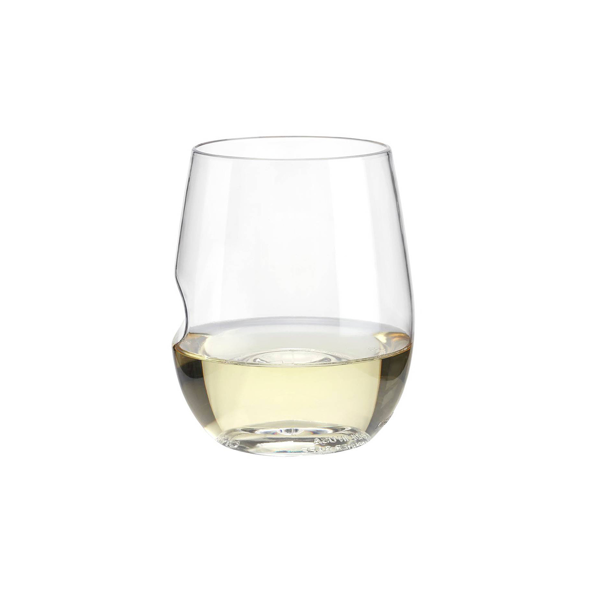 Classic wine glass with thumb-notch on the side photo