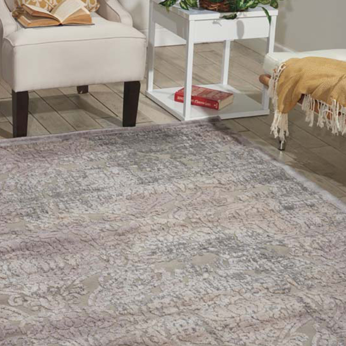 Vintage gray antique rug with a damask pattern. photo