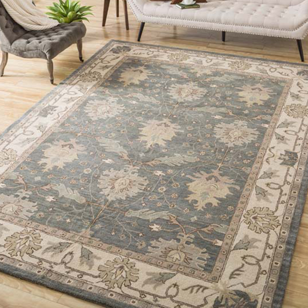 Patterned caspian blue wool rug that repels dirt and stains. photo