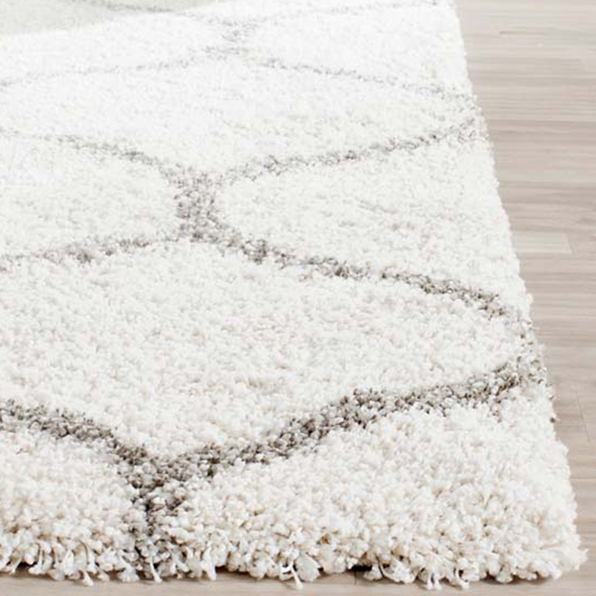 Modern shag rug with traditional motif inspired by Moroccan designs. photo