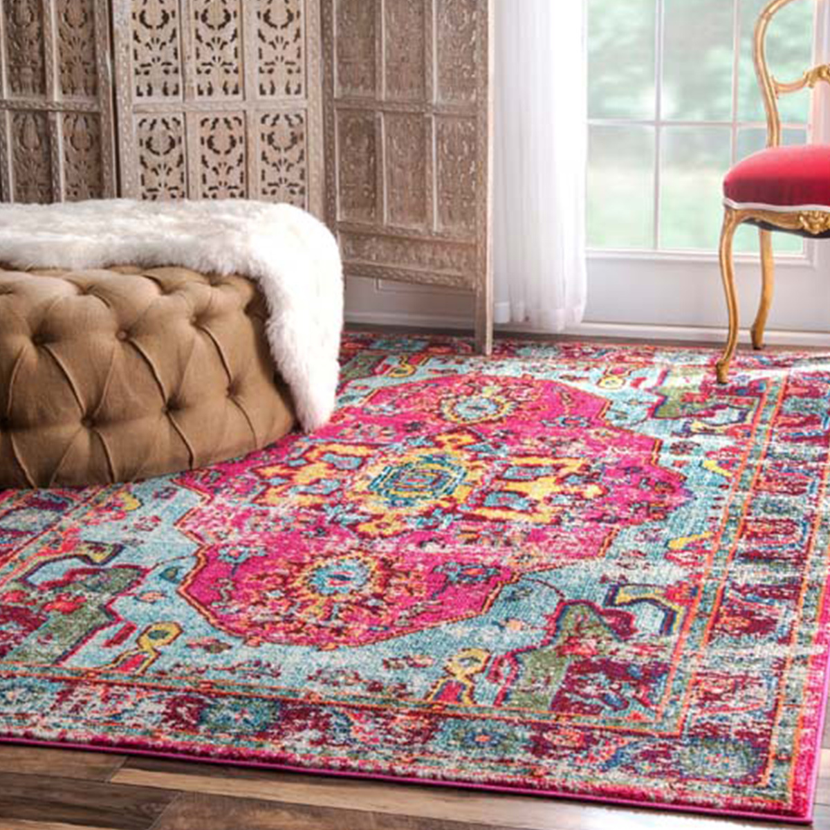 Abstract oriental multi-color rug made of 100% polypropylene to prevent shedding. photo