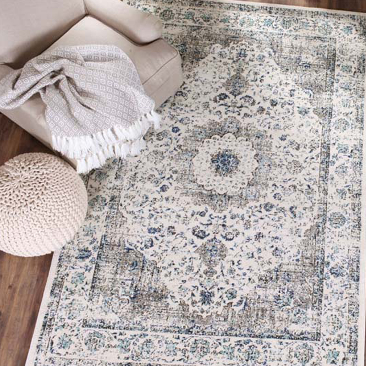 Stylish non-shedding vintage rug with contemporary colors. photo