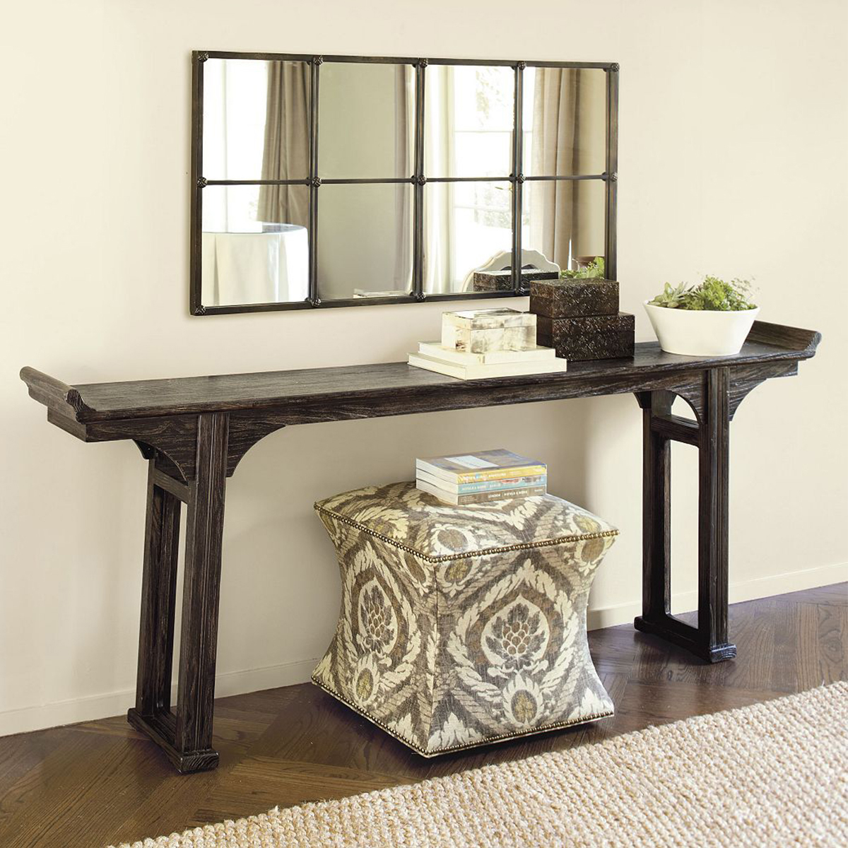 Rustic wooden serving table with a slender design photo